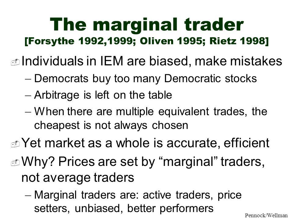 The marginal trader [Forsythe 1992,1999; Oliven 1995; Rietz 1998]
